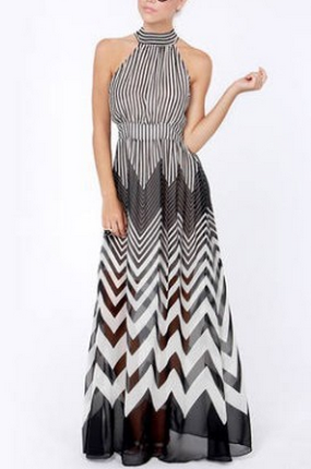 Summer Chiffon Wavy Black and White Stripes Dress  - Juicy Wardrobe
