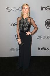 dress,julianne hough,Golden Globes 2018,maxi dress,black dress