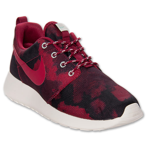 Women's Nike Roshe Run Print Casual Shoes | FinishLine.com | Fusion Red/Sail/Arctic Green/Noble