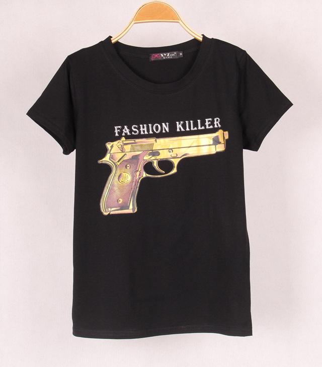 Couleurs 2 nouvelle marque de mode des femmes t shirts imprimés avec cc& pistolet. à manches courtes t dans de sur Aliexpress.com