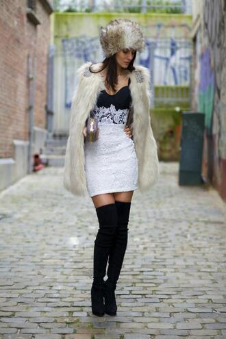 from brussels with love blogger lace dress sexy dress thigh high boots faux fur fur hat dress shoes jacket bag hat jewels white fur vest