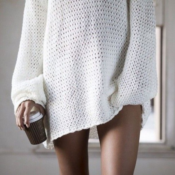 Sweater: oversized sweater, white sweater, cozy sweater, boyfriend ...