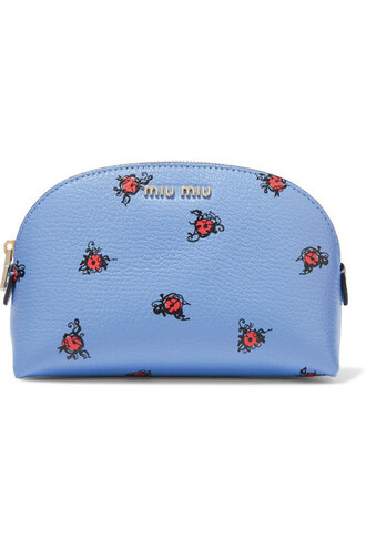 light pouch leather blue light blue bag