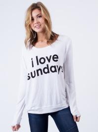 White I Love Sundays Shirt by peace love world - ShopKitson.com