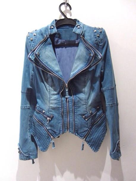 jacket denim jacket denim vintage spiked leather jacket spiked denim denim jacket blue jean jacket spiked jeans oversized denim jacket oversized levi's miley cyrus comfy