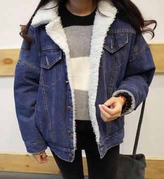 jacket girly blue denim denim jacket fur fur jacket vue boutique navy fur jacket