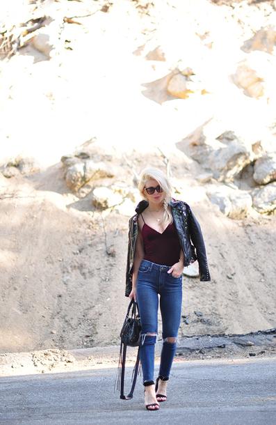 love maegan blogger shoes sunglasses jewels bag jacket black leather jacket sandals high heel sandals handbag skinny jeans spring outfits