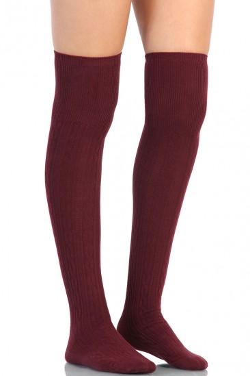LoveMelrose.com From Harry & Molly | Knee High Socks - Burgundy
