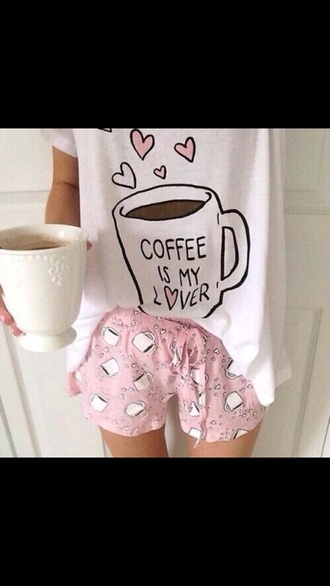 shirt coffee pajamas mug galentines day shorts pink white girly heart cute t-shirt top love kawaii pale pastel multiple cups of coffee shirty socks shoes