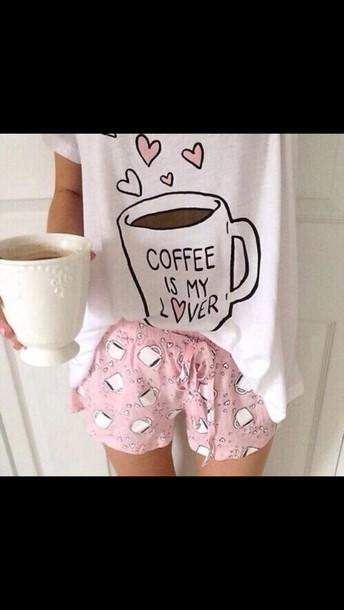shirt coffee pajamas mug galentines day shorts pink coffee white pajamas pajamas girly heart coffee cute pyjama shorts pajamas t-shirt heart top love kawaii pale pastel multiple cups of coffee shirty socks shoes