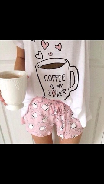 shirt coffee pajamas mug galentines day shorts pink coffee white pajamas pajamas girly heart coffee cute t-shirt heart top love kawaii pale pastel multiple cups of coffee shirty socks shoes
