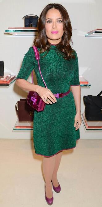 dress emerald green salma hayek pumps