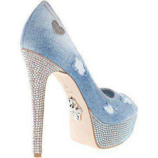 Shoes: jean shoes, jeans, high heel, peep toe heels, strass shoes ...