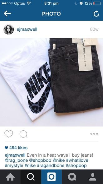 shirt nike leopard print white t-shirt