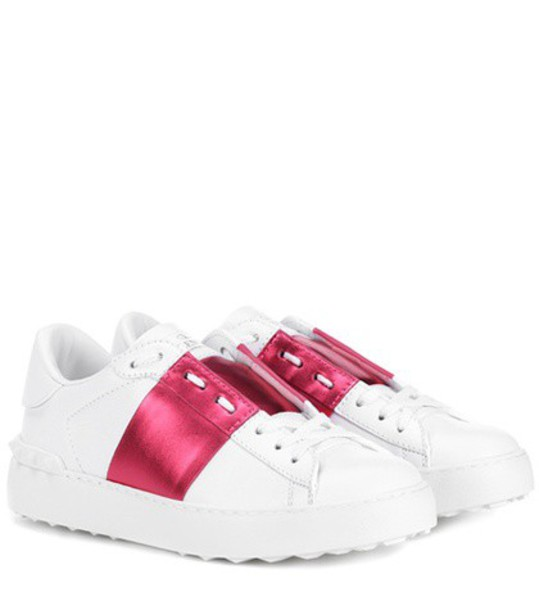 Valentino open metallic sneakers leather white shoes