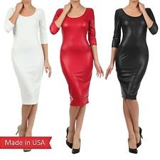 New Sexy Matte Black Faux Leather Open Back Fitted Slim Bodycon Pencil Dress USA