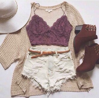 top shorts cardigan shoes floppy hat