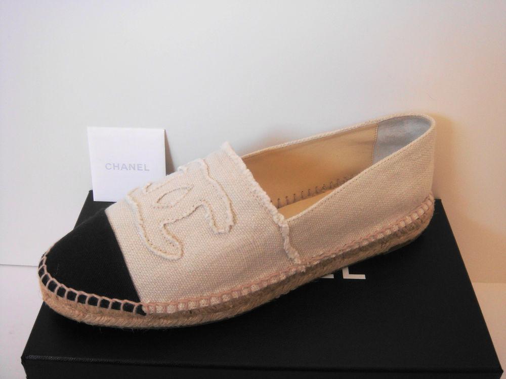 Chanel Chanel 14c Classic Canvas Cap Toe CC Logo Espadrilles Flats Shoes | eBay