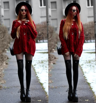 sweater red sweater long sweater grunge nu goth rock alternative cute goth skinny/red socks