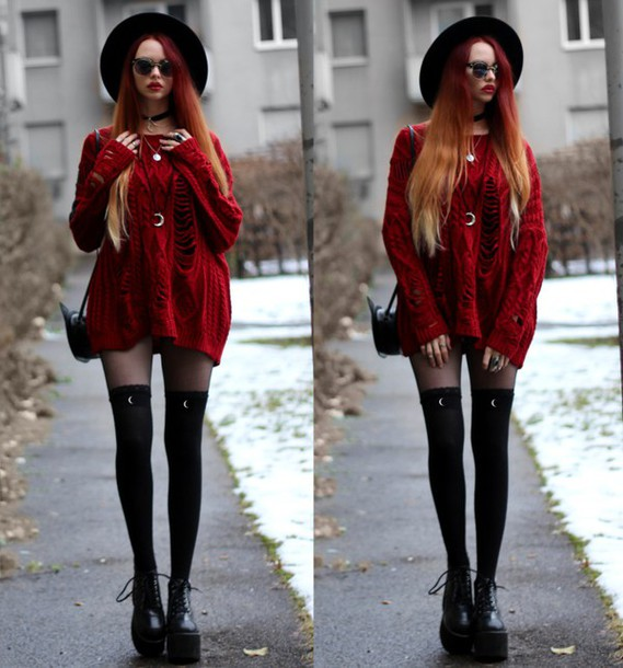 Sweater: red sweater, long sweater, grunge, nu goth, rock ...