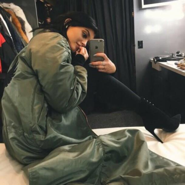 kylie jenner army green jacket khaki bomber jacket jacket long bomber jacket shoes