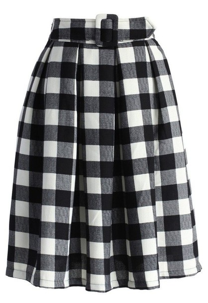 Skirt: black and white skirt, checkered skirt, black and white ...
