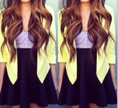 jacket,blazer,lemon,yellow,corset,purple,lace,black skirt,skater skirt,shirt,skirt