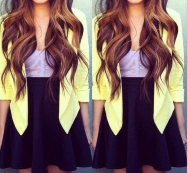 jacket blazer lemon yellow corset purple lace black skirt skater skirt shirt skirt