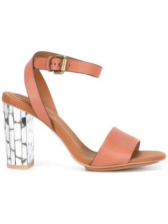 heel metallic women sandals leather brown shoes