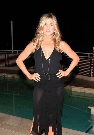 blouse top skirt jennifer aniston midi dress midi skirt all black everything