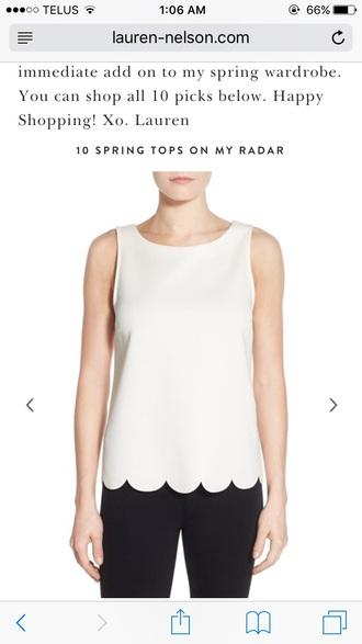 top scalloped shirt scalloped white shirt