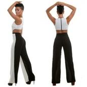dress,black,white,white font,black bottom,black zipper,fashion,style,mid section cut,black and white jumpsuit,no sleeve