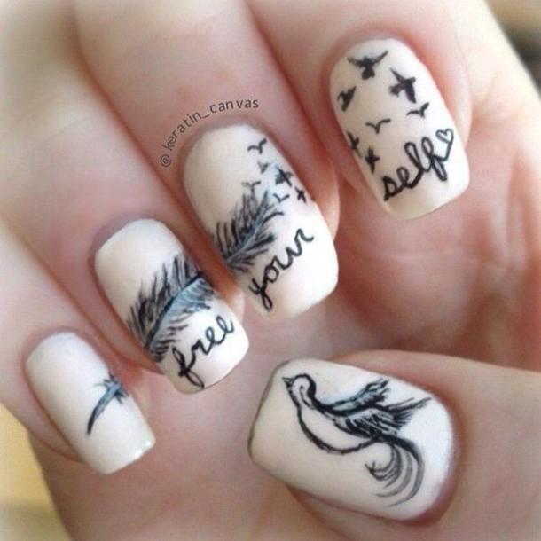 nail polish nail art birds
