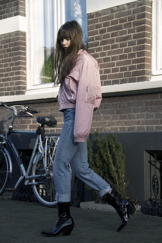 jacket tumblr pink jacket bomber jacket pink bomber jacket denim jeans blue jeans cuffed jeans boots black boots mid heel boots cropped jeans pointed boots patent boots