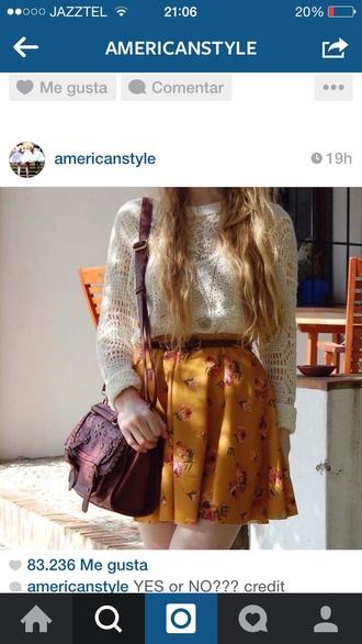 skirt mini skirt mustard flowers floral fashion style outfit flower skater skirt flowered skirt mustard skirt shirt