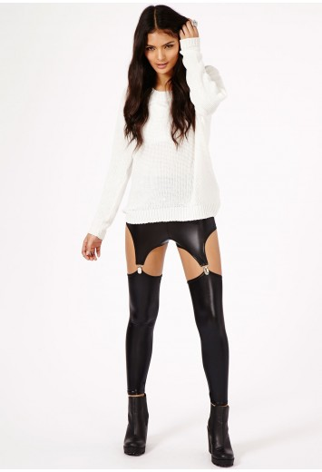 Posie Wet Look Suspender Leggings - Leggings - Missguided