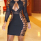 Mesh long sleeve lace up bandage dress black