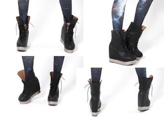 shoes platform shoes sneakers high top sneakers black milk boots combat boots jeffrey campbell black
