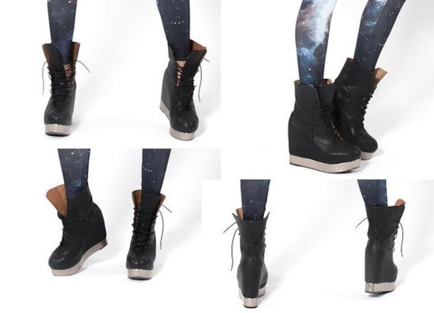 shoes platform shoes platform shoes sneakers high top sneakers Black Milk boots combat boots jeffrey campbell black