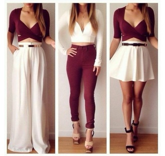 top burgundy skirt white top crop tops loose pants