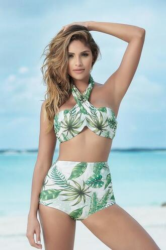 swimwear palm tree bikini gorgeous tropical print multi-way bikini top full to moderate coverage mapalé high waisted bottom