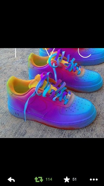 shoes colorful nike air force 1 af1 bag nike air force 1 nike air force 1 yellow red purple blue air force one multicolor sneakers nike air force rainbow dope nike shoes tie dye customized neon fluo ombre purple purple and blue