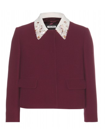Cropped Embellished Crepe Jacket | Miu Miu » mytheresa