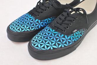 shoes sneakers black blue vans custom vans blue vans black vans blue flowers