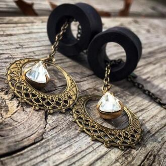 jewels gold clear white black ear plug chain teardrop cut-out dangle earrings gauge jewelry