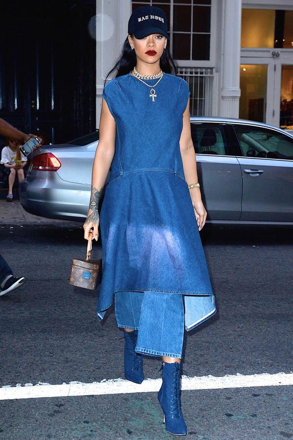 Dress Denim Denim Dress Boots Cap Rihanna Jeans All Denim Shoes Wheretoget