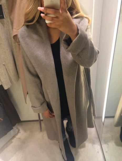 jacket blonde hair cardigan coat large coat oversized coat gray coat grey dope stylish style style trendy trendy trendy casual on point clothing blogger fashion inspo fashion inspo tumblr girl grey