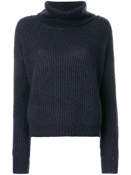 Markus Lupfer - roll neck ribbed pullover - women - Acrylic/Polyamide/Mohair - XS, Blue, Acrylic/Polyamide/Mohair