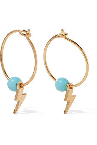 mini earrings hoop earrings gold turquoise jewels