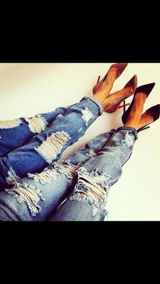 fashion jeans holes blue skinny jeans boyfriend jeans